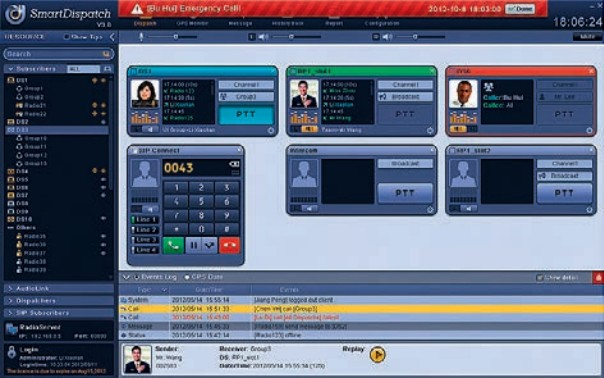 Ecran de gestion centralise de parc radio HYTERA SmartDispatch